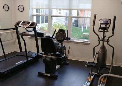 The gym and workout facility at Scott-Farrar Independent & Assisted Living in Peterborough